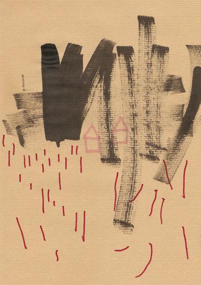 Tusche und Filzstift auf Packpapier, 21 x 29,7cm