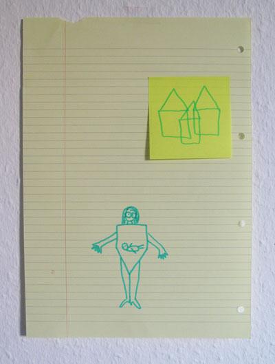 o.T., 2014, Collage und Filzstift auf Papier, 21 x 29,7cm
